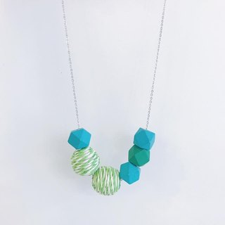 Mint Green  Wooden Ball Necklace Birthday Gift Bridesmaid Gift