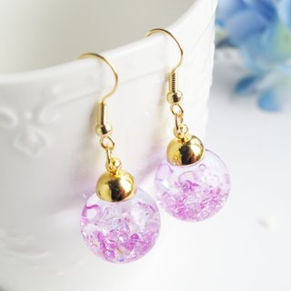 * Rosy Garden * purple crystals water inside glass ball earrings