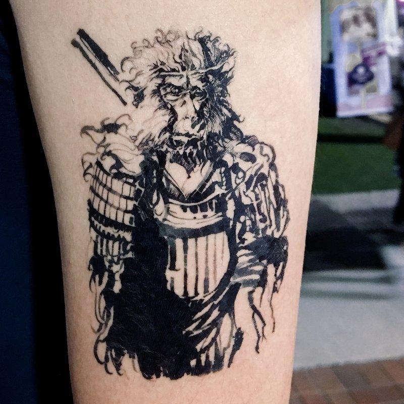 齊天大聖孫悟空 神話角色 水墨刺青 紋身貼紙 馬騮猴子動物 Man僧