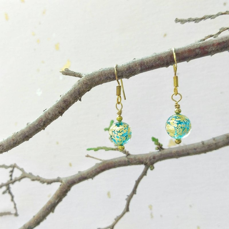 Aqua 24kt Gold Foil Ca'd'Oro Murano Glass Beads Earrings
