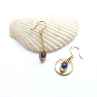 Blues -Brass handmade earrings