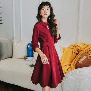 2018 new autumn elegant elegant flat color waist long dress one-piece dress