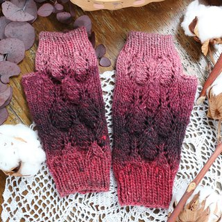 Handmade - Berry - Yarn Hand Knit Gloves