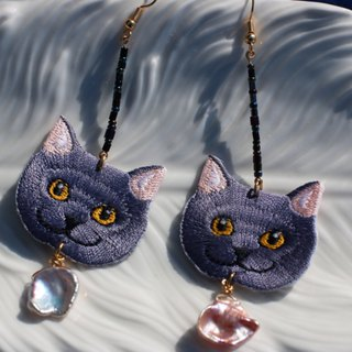 Cartoon cat Mori women retro earrings femininity long cute pearl ear clip fashion earrings pendant hypoallergenic