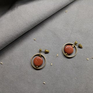 Gold Sand Design Earrings - Ear Pins / Ear Clips