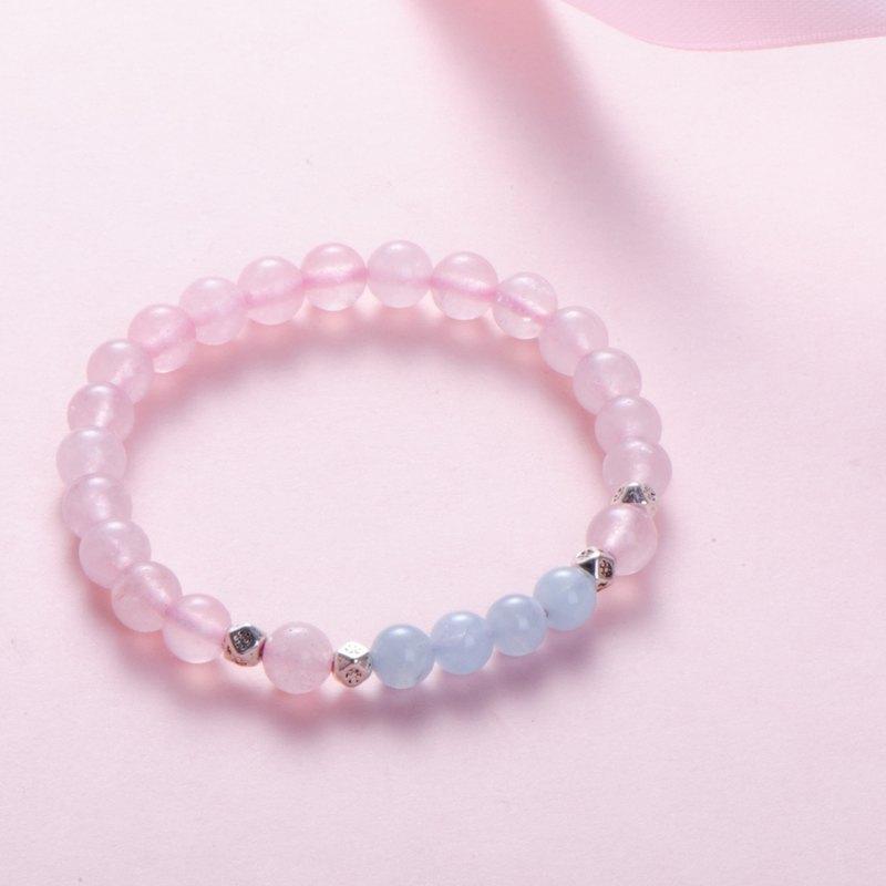 粉水晶海藍寶6mm手鍊 | 櫻花 | 天然水晶手鏈客製設計