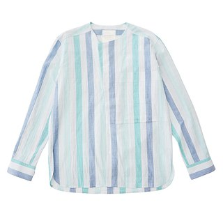 COOLMAX Stripe Collarless Shirt