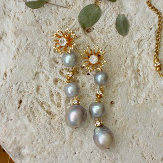 Flowers & Grey Pearls & Long Drop Earrings