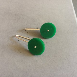 Green Circle - Long Minimal Sterling Silver Earrings with plexi - green