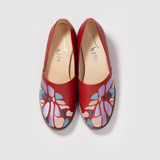 Cutout shoes - Embroidered handmade low-heeled shoes - Burgundy (new products)
