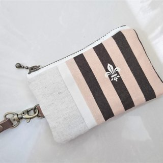 [Fmini / ticket holder / card holder /] stripes. pink orange