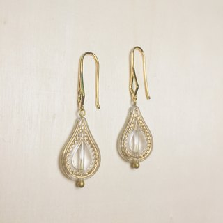 Vintage Water Drop Carved Diamond Earrings