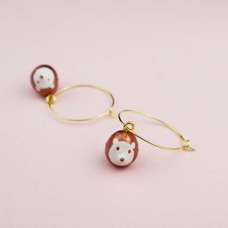OMO  Original hand-painted  Hedgehog 18K Gold Earrings