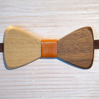Natural Log Bow Tie - Beech + Walnut + Orange Leather Leather (Wedding / Newcomer / Official Occasion)