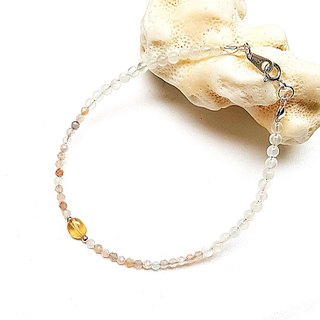 <Pet Love Series-Intelligence> Color Moonstone Cut White Moonstone Yellow Crystal 925 Sterling Silver Bracelet