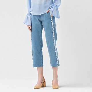 VACAE Denim Beaded Cropped Trousers