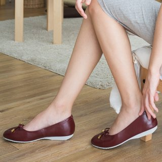 VICTORIA; Everyday Ballerina, 100% Genuine Leather, Red burgundy Basic ballet bow arch support
