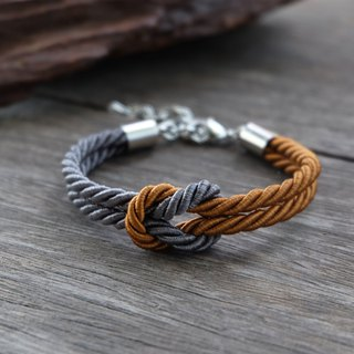 Charcoal & Cinnamon brown knot rope bracelet