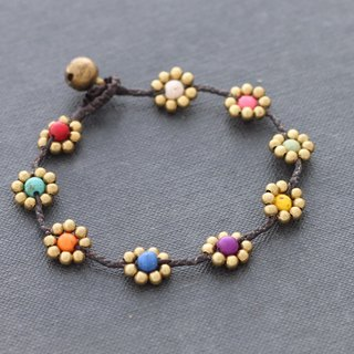 Candy Stone Flower Bracelets Braided Cute Folk