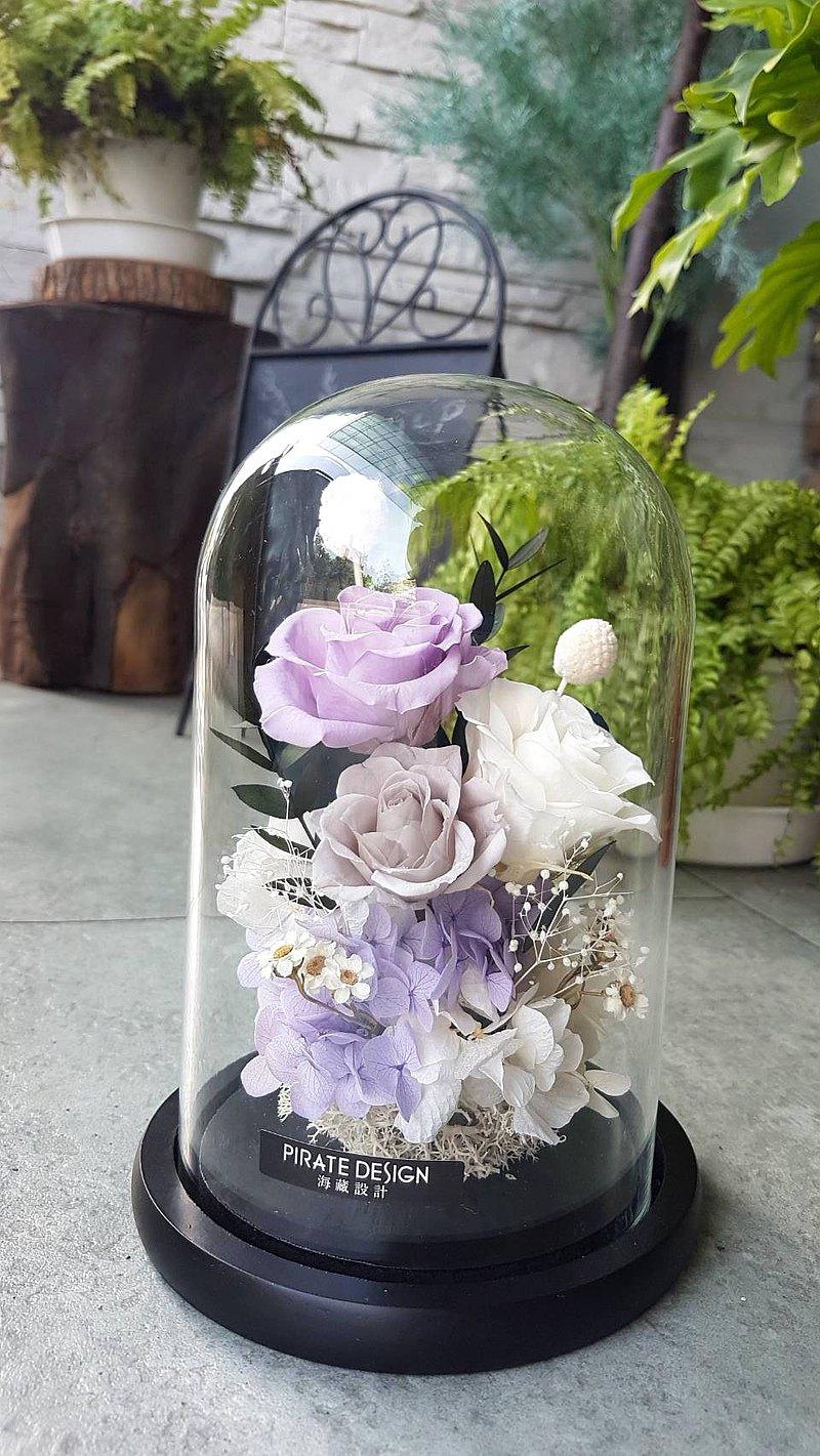 海藏設計│霧灰紫。發光永生花玻璃罩 /永生玫瑰 夜燈