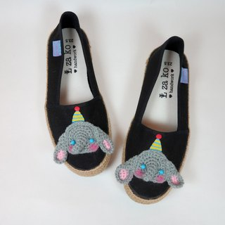Black cotton canvas hand made shoes color hat like children's models have a woven section