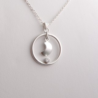 Moon and stars - sterling silver moon zircon necklace