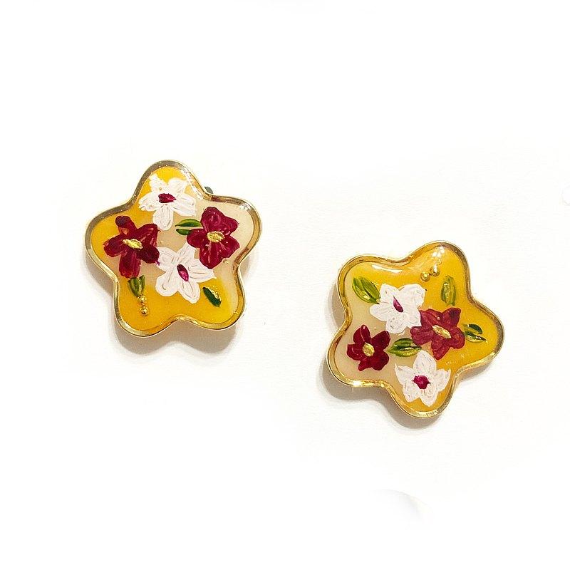 日本樹脂黃色花朵手繪耳環(可改夾)