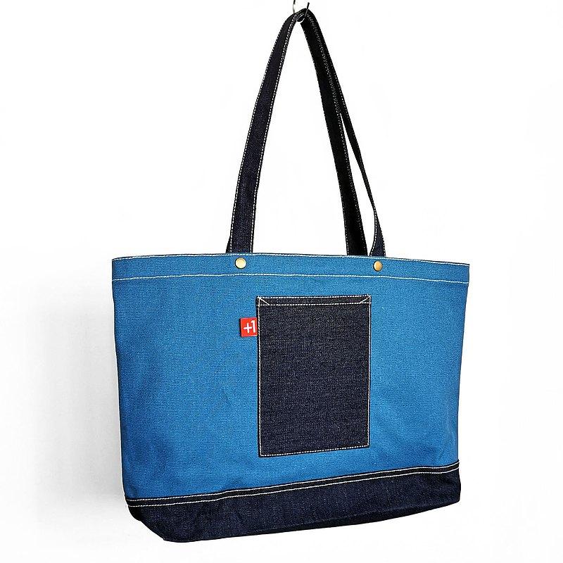 【換季特賣】水藍帆布配深藍丹寧牛仔三袋日系袋/帆布包/托特包