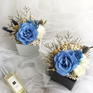 Eternal Blue Rose Ceramic Potted Flower Dry Flower Ceremony