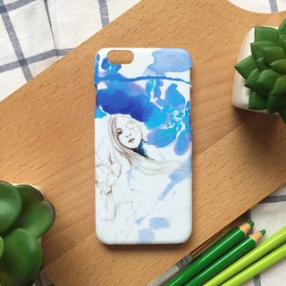Blue flower and the girl. Matte Case( iPhone, HTC, Samsung, Sony, LG, OPPO)