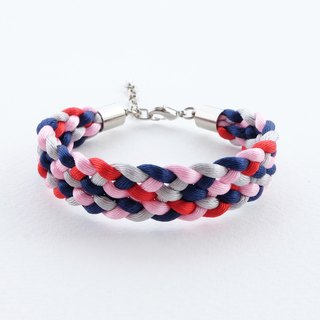 Navy/pink/red/gray Braided bracelet