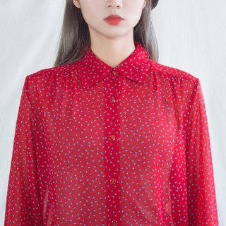 Red triangle swirl vintage long sleeve shirt