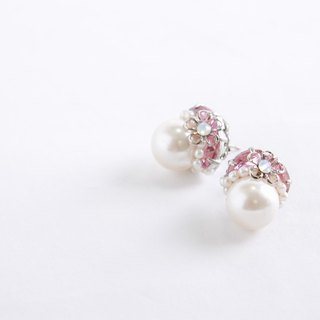12mm1 grain Pearl & Bijou of elegant earrings (earrings) pink