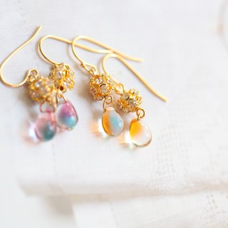 Color tear earrings │ gold-plated zircon beads glazed beads can change the clip-style Christmas exchange gift