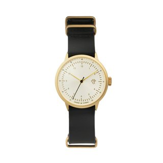 Harold Mini Gold Watch Black Military Leather Watch