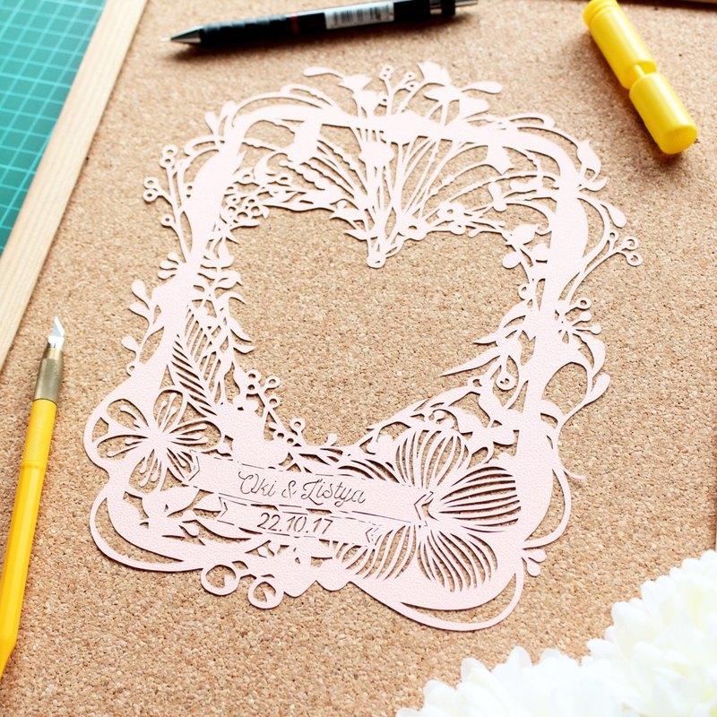 客製化心型照片框紙雕(含框) |生日禮物 | 結婚禮物|紀念品