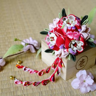 Hana Saku [zu ma Mi fretwork] waltzes. Floral | Happiness red - Japanese-style wind flower hairpin yukata kimono fabric flower hair ornaments handmade creation