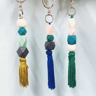 Handmade tassel wood beads key ring