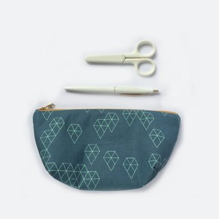 Pencil Case Minimalist Zipper Pouch Makeup Bag Geo Drops on Teal