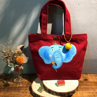 Wool Felt Embroidery Green Lunch Bag - Mr. Elephant