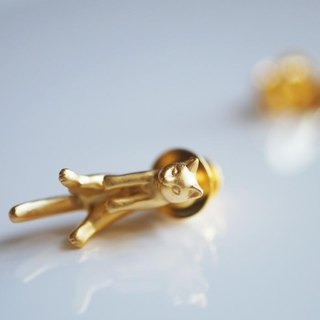 Cat pin brooch gris (gold)