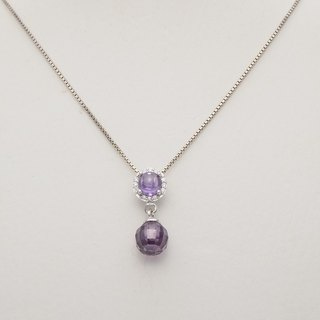 Silver 925 setting Purple Cabochon+Briolette ball Pendant on Italian box chain