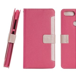CASE SHOP ASUS ZenFone Max Plus (ZB570TL) Front Retractable Side Lift Leather Case - Peach (4716779659306)