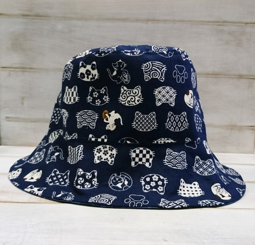 Fighting Cow & Blue Black Rendering Double-sided Fisherman's Hat Hood