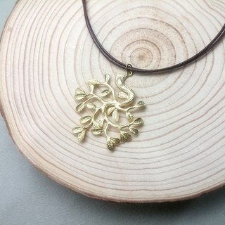 Handmade x necklace brass Mori leaf plain plain wax rope thin line