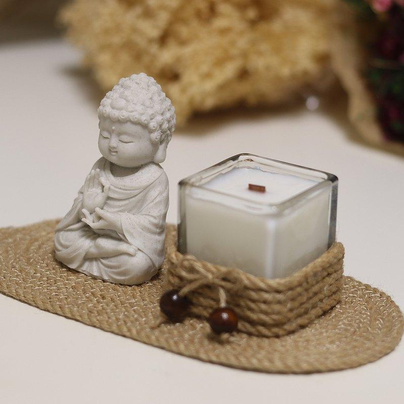 淨念吉祥小佛之向德繩盤香燭組 精油麻繩香氛蠟燭套組 居家香氛