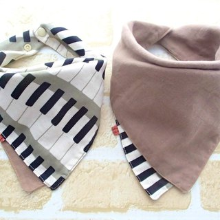 Baby Bib, 口水巾, Reversible Scarf Bib, Handkerchief, Piano, Japanese Cotton, Soft