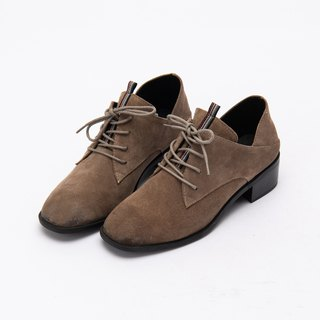 [City tab] full leather side V mouth scoring middle heel shoes _ London fog