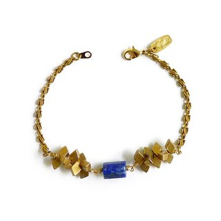 Ficelle | handmade brass natural stone bracelet | [lapis lazuli] those heroic sacrificial shape