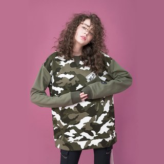 UNISEX LACE-UP HEM CAMO SWEATSHIRT